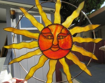 Sun Face, in Yellow & Red Swirl Stained Glass, Sun Catcher 16 inch Diameter