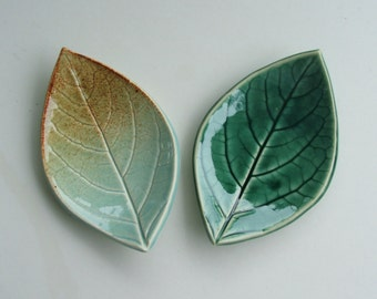 Ceramic Leaf Plates, Set of Two, Hand Built, Persimmon Leaf