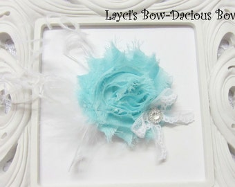 Light Blue {Ellie} Flower Hair Clip, flower clip, shabby flower, Light blue flower, more colors available