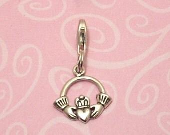 Romantic Irish Claddagh Clip-On Charm Sterling Silver