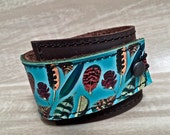 Leather Cuff Wrap Women's Bracelet, Photo Feathers Digital Photo Print on 100% Genuine Leather, * SALE * Coupon Codes