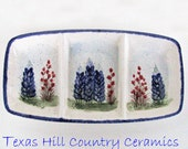 Ceramic Divided Serving Dish with Hand Painted Texas Bluebonnet Wildflowers