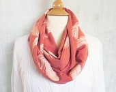 Organic Cotton Scarf - Graphic Infinity Scarf - Feathers Screen Printed Scarves - Salmon Orange Scarf