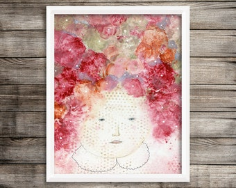 Floral Artwork- Quirky Canvas Art Prints and Paper Prints for Girls Rooms in Multiple Sizes
