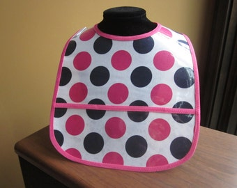 WATERPROOF WIPEABLE Baby to Todller Plastic Coated Bib Navy and Hot Pink Polka Dots