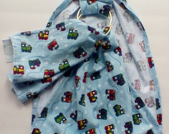 Doll Carrying Ring Sling - Toy Carrier - Pouch Doll Sling - Babywearing - Baby Doll Sling Doll Ring Sling  – Sale Doll Sling - Train Fabric