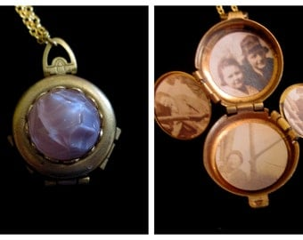 Amethyst Vintage 4 Picture Locket