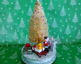 Miniature Christmas Tree on Pedestal with Gifts, Bead Ornaments, Snow and Sparkling Mica Flakes Shabby Country Christmas Decorations