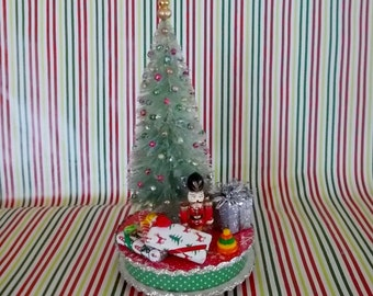 Vintage Look Mini Christmas Tree on Pedestal with Gifts, Bead Ornaments, Snow and Sparkling Mica Flakes Shabby Country Christmas Decorations