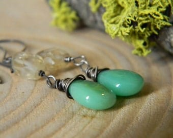 mint green chrysoprase and citrine earrings -  oxidized silver dangles