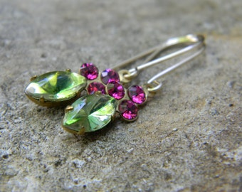Vintage two stone earrings - apple green and fuchsia - gold filled earwires