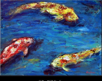 KOI Fish Painting LARGE Colorful Painting - Koi Art 24x18 - Ready to Hang - ORIGINAL Art by BenWill
