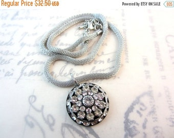 CIJ 35% OFF Rhinestone Pendant. Antique Silver Mesh Chain, Clear Crystal Rhinestones. Holiday Jewelry. Under 50, Gifts for Her.