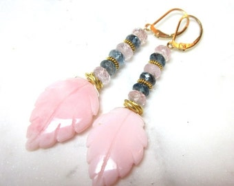 25% SALE Pink Opal Dangle Earrings.  Morganite. Aquamarine. Gemstone Earrings. Gifts for Her. LUX.
