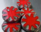 25% OFF Summer Sale Czech Glass Beads -  18mm Opaque Red Coin - Czech Picasso Beads 6 pcs (G - 575)