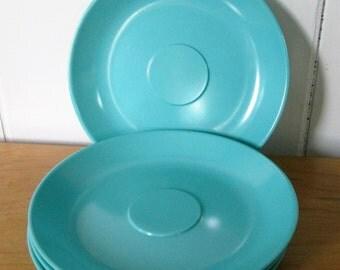4 vintage Florence aqua melmac saucers by Prolon