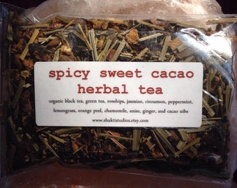 SPICY SWEET CACAO Herbal Tea Blend One Ounce delicious brew organic and vegan