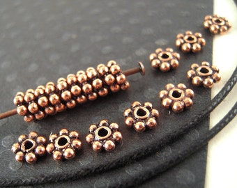 100 Daisy Copper Spacer Beads, 5mm, Antiqued Copper, Metal Spacer, Tiny Copper, Copper Heishi, Copper Rondelle F049