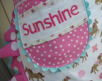 Aprons - Personalized Aprons - Does Not Include The Apron -  - Monogrammed -  Her Name On any Apron Pocket---Hand Embroidered Initial