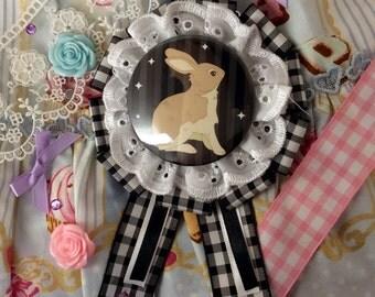 Lace Bunny Rosette Black x White
