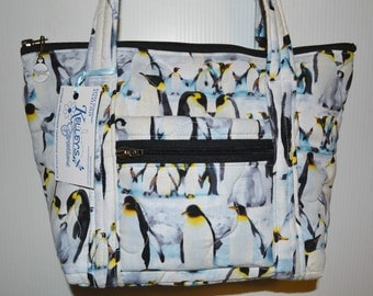 Quilted Fabric Handbag Purse with Penguins