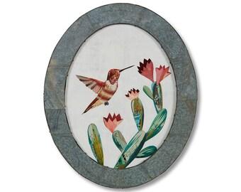 Hummingbird Original Bird Art Collage
