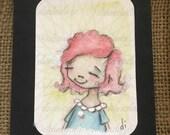 Original ACEO mini watercolor girl painting - Proud - Free U.S. shipping
