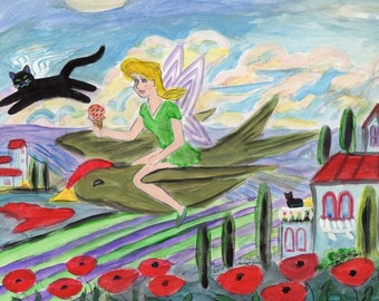 ORIGINAL PAINTING, Pixie on a Ruby-crowned Kinglet over Tuscany with Black Cat Angel and Poppies, by DM Laughlin
