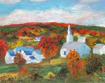 ORIGINAL PAINTING, Waits River, Vermont, by DM Laughlin