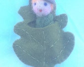 Little Oak and acorn leaf baby fairy by Forest Whimsy Waldorf pocket fairy free US shipping