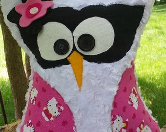 Owl Pillow - Stuffed Owl - Baby Shower Gift - Sensory Toy - Character Pillow - Pink Owl- Nursery Decor - Hello Kitty - Whimsical Pillow