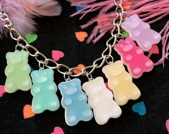 Rainbow Gummy Bear Laser Cut Charm Necklace