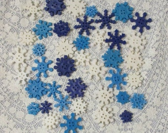 Snowflake Buttons Plastic Blue and White Lot of 41