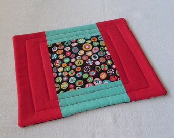 NEW Coffee Coaster or Mug Rug, in Black, Red, Aqua, Quilted Patchwork Snack Mat