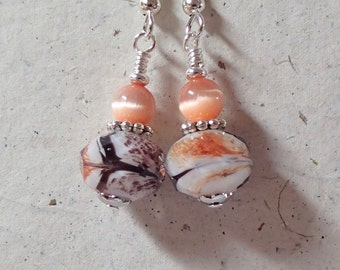 Orange Black and White Faceted Glass Earrings on silver