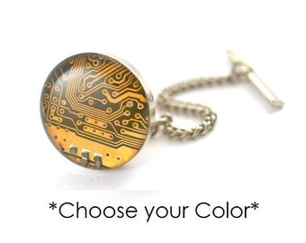 Choose Your Color - Recycled Circuit Board Tie Tack - Eco Friendly Computer Gift - Tie Pin - Technology Gift