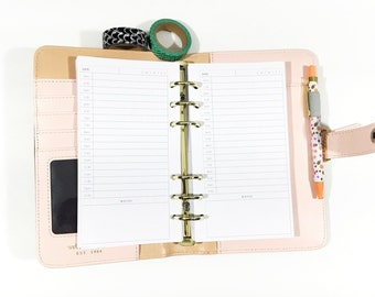 Personal Size Undated Day on Two Page Time Tracking Personal or Compact Filofax, Medium Kikki K, planner inserts - minimalist design