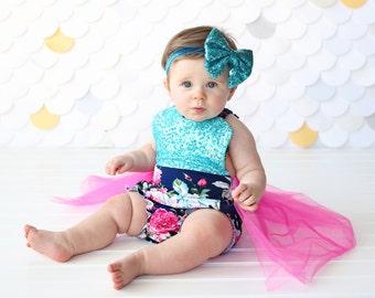 Romper - Tulle skirted, Skirted, Sequin Top Romper - Sequin Romper - Princess - Birthday Romper - Photoshoot - Hot Pink, Aqua, Navy Romper