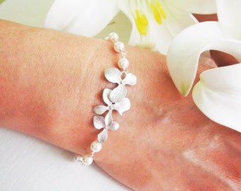 Orchid Flower Wire Wrapped Pearls Bracelet, Silver Rose Gold Orchid Pearl ADJUSTABLE Bracelet, Flower Girl, Bridesmaid Gifts