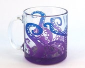 SUMMER SALE Octopus Tentacles Coffee Mug - Painted Glassware - Glass Coffee Cup - Custom Made to Order