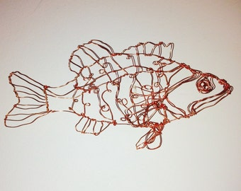 Bass Ornament-wire drawing sculpture art