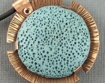 Copper and Lava Stone Circle Pendant