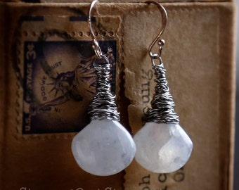 Moonstone Drops II - Upcycled guitar string earrings by StrungOut