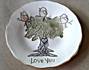 Family tree with 3 Birdies Ceramic Trinket Bowl  Mothers day