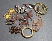 Copper Bronze Gold Beads Charms Assortment Variety Mixed Lot Destash Nature Supplies Jewelry Making