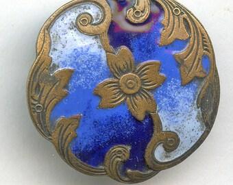 Art Nouveau BLUE Enamel Button Antique Victorian 1 1/8 inch 2303