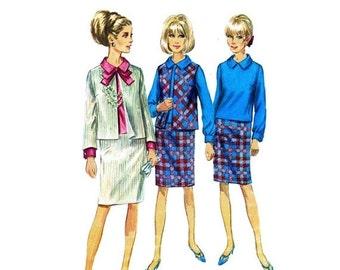 SALE 1960s Womens Blouse Jacket Skirt Suit Simplicity 6687 Vintage Sewing Pattern Size 16 Bust 36 UNCUT