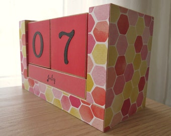 Perpetual Wooden Block Calendar - Pink and Yellow Honeycomb - What's the Buzz?