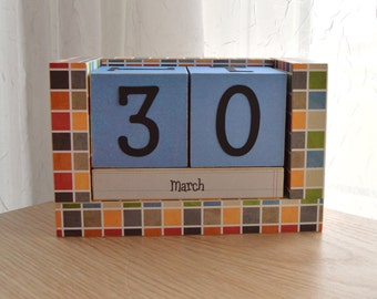 Wooden Block Perpetual Calendar - Blue Orange and Green Tiles - Great for Boys