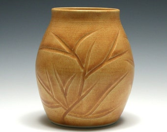 Orange Vase with Carved Branches